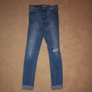 Light wash Abercrombie jeans.